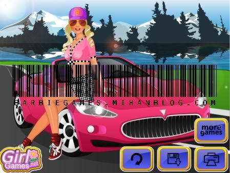 بازی باربی لباس ماشین سواری